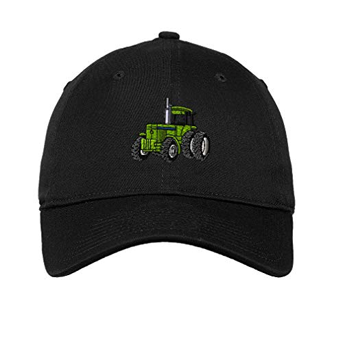 Soft Baseball Cap Tractor Machine B Embroidery Twill Cotton Dad Hats for Men & Women Buckle Closure Black Design Only