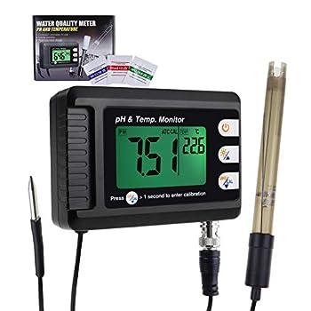 Digital Combo pH & Temperature Meter Aquarium Thermometer pH Monitor with Automatic Calibration Function for Fish Tank Hydroponics Aquaculture Laboratory