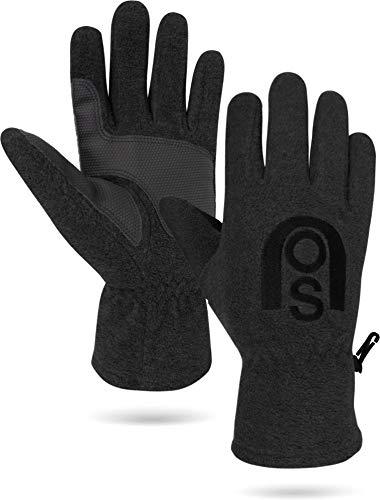 normani Winter Fleece Handschuhe Schwarz mit Thinsulatefütterung bis -10 Grad Farbe Schwarz mit Silikonhandfläche Größe M