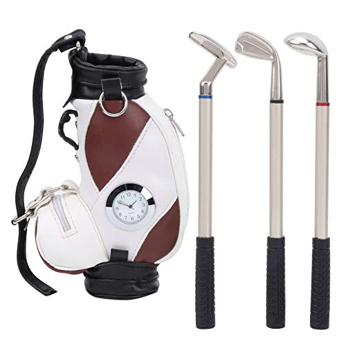 VGEBY Golf Putting Pen Set, Mini Desktop Golf Bag Pen with Clock and Golf Pens Office Gift Souvenir Set Gift (Brown and White)