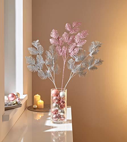 3 Dekozweige in Silber + Rose, 85 cm hoch, Kunstblätter, Kunstzweige, künstliche Äste