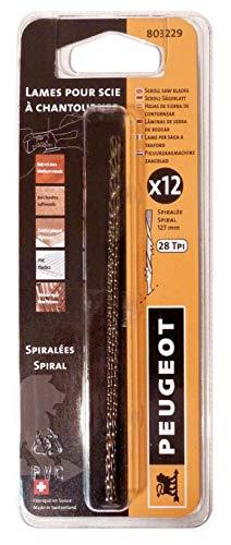 Peugeot 803229 spel van 12 messen rond zagen decoupeerzaag voor zaagbok Snelle 127 mm lang Ø 1,2 mm N ° 7