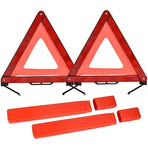 QLOUNI 2 Stück Warndreieck KFZ, Reflektierend Notfalldreieck, 43x43x43cm, einsetzbar für Unfälle, Pannen, Gefahrenstellen