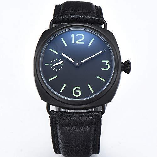 MKOIJN Horloges 45Mm Horloge Zwart Roestvrij Staal Pvd Kast Bruin Leer Steriele Wijzerplaat Handopwinding Waterbestendig Herenhorloge