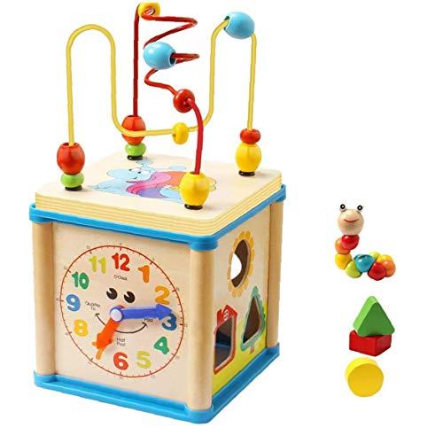 OMMO LEBEINDR Bebé Juguetes Educativos De Madera Forma del Cordón Laberinto Clasificador Actividad Reloj En Forma De Regalos del Juguete del Cubo De 1 a 4 Años Juguete Divertido 1ponga
