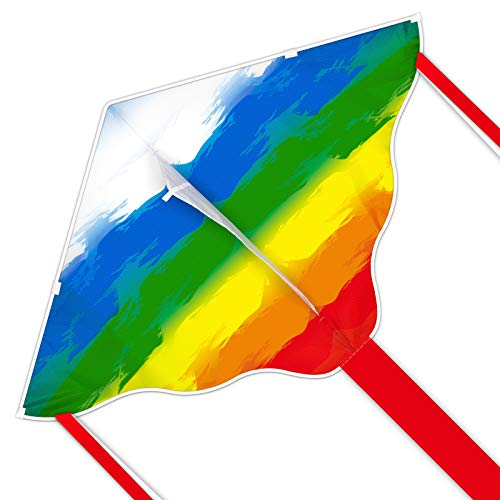Simxkai Kite for Kids - Easy to Fly Rainbow Kite - Best Delta Kite for Beginners Toddlers - 51 x 32  Durable Kite c w 300ft String