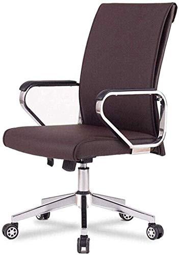 Silla de oficina giratoria para videojuegos, de piel, giratoria para ordenador, con reposabrazos, respaldo para el hogar (color: marrón)