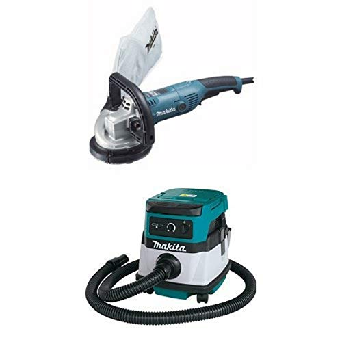 Makita PC5000C 5-Inch Concrete Planer & XCV04Z 18V X2 LXT (36V) 2.1 Gallon HEPA Filter Dry Dust Extractor/Vacuum