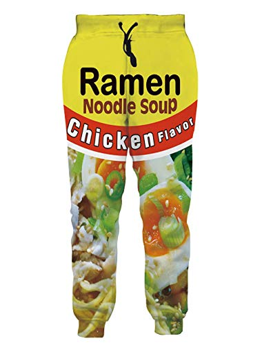 SKYRAINBOW Teens Jogging Pants Funny 3D Ramen Noodle Soup Trousers Printed Letter Beef Flavor Sweatpants Athletic Casual with Drawstring for Girls, Boys Yellow, L
