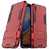 LXHGrowH Funda Xiaomi Redmi 7A, Fundas 2in1 Dual Layer Anti-Shock 360° Full Body Protección TPU Silicona Gel Bumper y Duro PC Armadura con Soporte y Desmontable Carcasa para Xiaomi Redmi 7A, Rojo