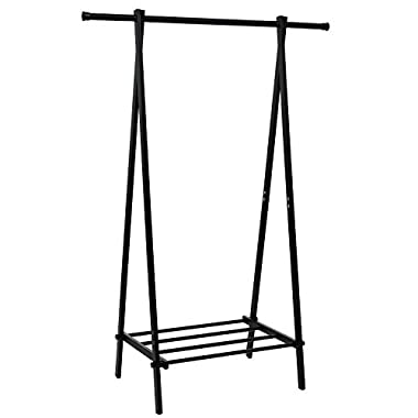 SONGMICS Black Metal Clothes Rack with 1-Tire Storage Shelves for Entryway and Bed Room URCR11B