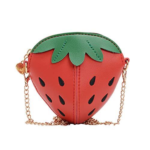 LILIHOT Mädchen Umhängetaschen Kinder süße Erdbeer Leder Kette Umhängetaschen Geldbeutel Mini Verstellbarer Schultergurt Schulter Crossbody Tasche Cross Body Messenger Bag