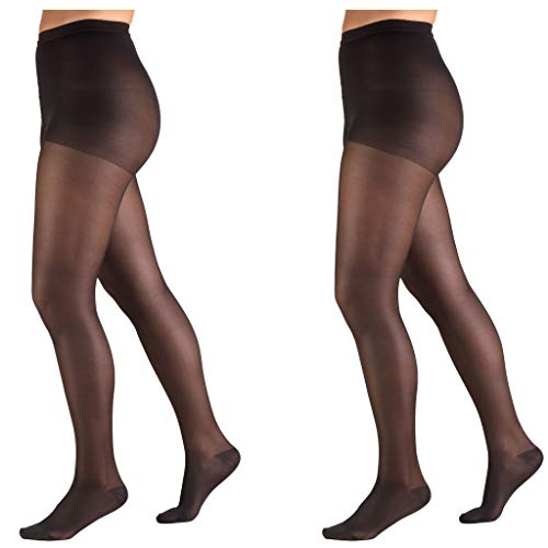Truform Lites Pantyhose, 15-20, Queen, Black (Pack of 2)
