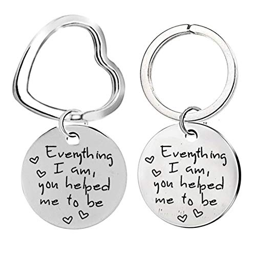 Amody Stainless Steel Couple Keychains 2 Piece, Keychain Couple Set 28MM Round Dog Tag with Engraving Everything I am You Helped me to be Silver Keychains Jewelry