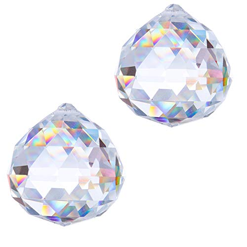 H&D 40mm Kristallkugel Prisma Glas Regenbogen Sonnenfänger Hängendes Fenster Dekor, 2er Set