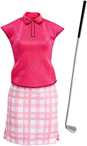 Barbie Mattel FKT14 - Original Mode, Kleider Set - Ich wäre gern Golf-Spielerin, pinkes Shirt, Karo Rock und Golfschläger