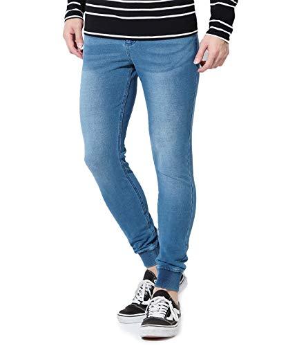 [ジギーズショップ] ロングパンツ スウェットデニム ジョガーパンツ メンズ スウェットパンツ ストレッチ デニム 細身 スリム XL ブルー