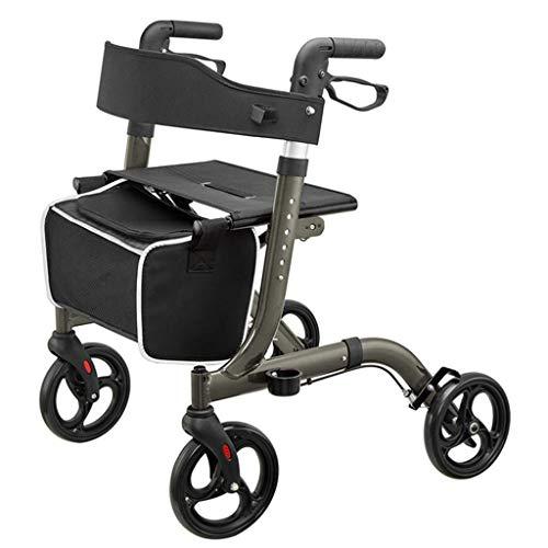 Gehhilfeair Rollator klapwagen met zitting en afneembare boodschappentas, inklapbare X-type-mobiliteitshulp voor volwassenen en senioren, in hoogte verstelbaar