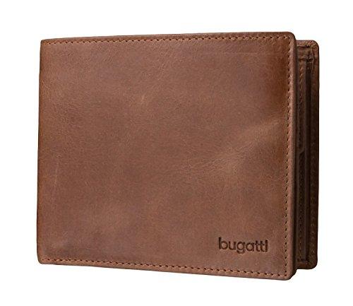 Bugatti Volo Geldbeutel Männer Leder - Geldbörse Herren Braun - Portmonaise Portemonnaie Portmonee Brieftasche Wallet Ledergeldbeutel