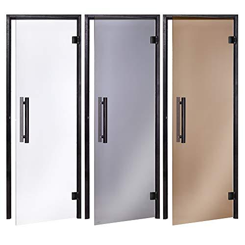 AD Black Saunatüren, Größe: 70 x 190/70 x 200/80 x 190/80 x 200; Glasfarbe: Grau, Transparent oder Bronze; Rahmenmaterial: gemalte und lackierte Espe; (Auswahl: 80x190 Grau)