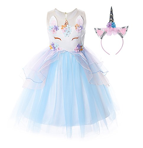 JerrisApparel Flower Girls Unicorn Costume Pageant Princess Party Dress (2 Years, Blue)