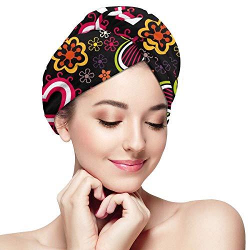 GYTHJ Serviette en Microfibre Cheveux Wrap Coloré Fleurs Et Papillons Coeurs Super Absorbant Twist Turban Sèche Cheveux Cap Rapide
