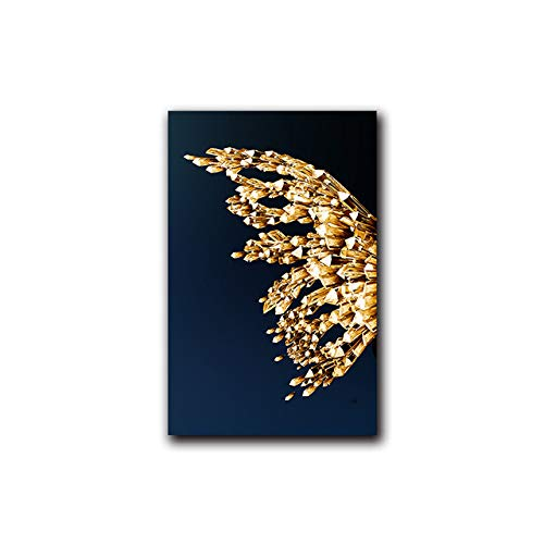Gold butterfly gold fish modern style abstract wall poster canvas painting print contemporary art picture living room entrance decor painting (No Frame)