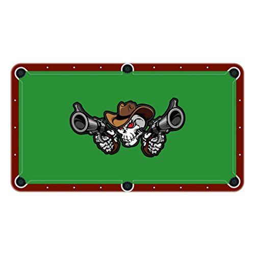 Lowest Prices! Unique Textile Printing Cowboy Skull Shooting Pistols High School College Team Mascot...