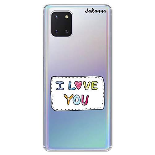 dakanna Funda Compatible con [Samsung Note 10 Lite] de Silicona Flexible, Dibujo Diseño [Parche con Frase I Love You], Color [Fondo Transparente] Carcasa Case Cover de Gel TPU para Smartphone