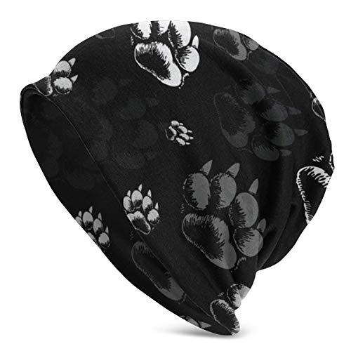 Wolf Paw Print Black Beanie Men Women - Unisex Winter Summer Warm Cuffed Plain Slouchy Skull Daily Knit Hat Cap