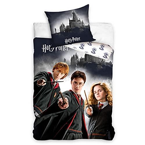 MTOnlinehandel Harry Potter Bettwäsche Bettbezug 135x200 80x80 Baumwolle · Kinderbettwäsche für Mädchen und Jungen · Hauptfiguren Hermine, Harry & Ron · 100% Baumwolle