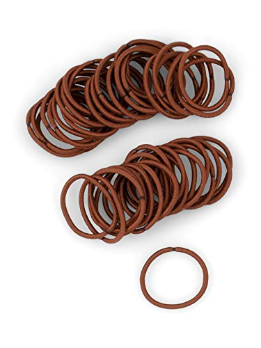 Heliums Small Auburn Red Hair Elastics, 2mm Mini 1 Inch Sized Hair Ties for Redheads, Kids, Braids and Fine Hair - 48 Count