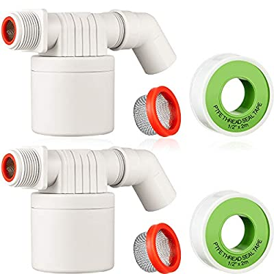 2 Pieces 3/4 Inch Water Float Valve Automatic Control Water Level Valve Water Tower Tank Float Valve with 2 PTFE Thread Seal Tapes, 2 Stainless Steel Filter and 2 Outlet Faucet by Blulu