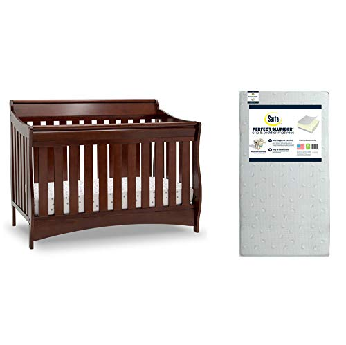 Delta Children Bentley S Series Deluxe 6-in-1 Convertible Crib, Black Cherry Espresso + Serta Perfect Slumber Dual Sided Recycled Fiber Core Crib and Toddler Mattress (Bundle)