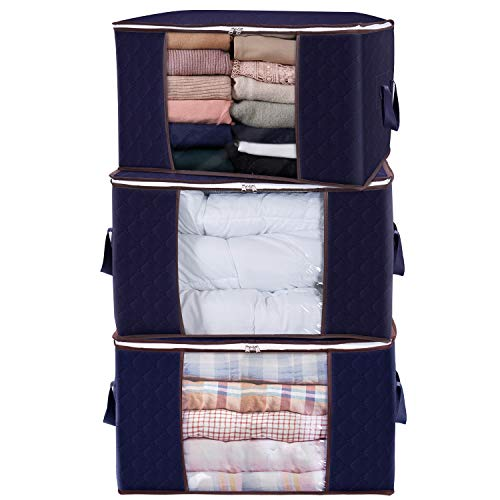 Lifewit Large Capacity Clothes Storage Bag Organizer with Reinforced Handle Thick Fabric for Comforters, Blankets, Bedding, Foldable with Sturdy Zipper, Clear Window, 3 Pack, 90L, Blue