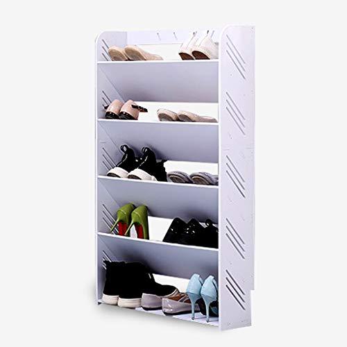 Zfggd Zapatero para Zapatos, Madera, Cubo Simple De Plástico Ensanchado Zapatero A Prueba De Polvo Blanco Cuatro/Cinco Capas (Color : 60x101CM)
