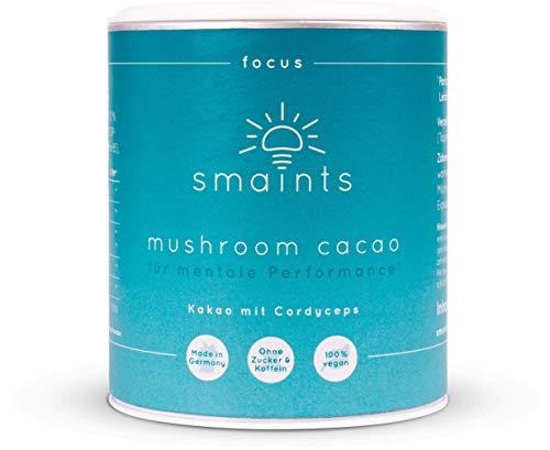 smaints focus - Mushroom Cacao für mentale Performance - Bio Kakao mit Cordyceps sinensis Extrakt, CDP Cholin, Ginkgo, Vitamin B5 – Vitalpilze Kaffeealternative - Nootropic