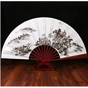weichuang Summer Folding Fan Bamboo Silk Fan Dance Party Flower Printing Home Decoration Crafts