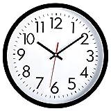 Foxtop, orologio da parete silenzioso, al quarzo, non ticchettio, nero, orologio da parete decorativo per casa, ufficio, scuola (25 cm, nero)