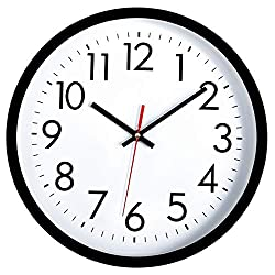 Lumuasky Black Wall Clock, Silent Non-Ticking Battery Operated Quality Quartz Round Decorative Easy to Read Clock for Home Office School (10 Inch, Red Second)