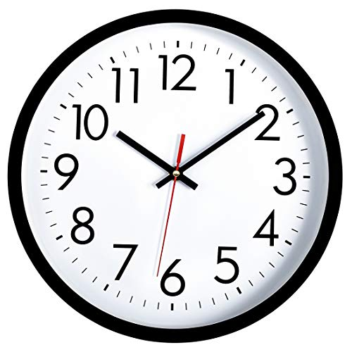 Lumuasky Black Wall Clock, Silent Non-Ticking 12 Inch Quality Quartz Battery Operated Round Easy to...