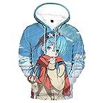 Sudaderas con Capucha Sudadera Suelta De Anime Rem Role con Estampado Unisex Jersey De Moda para Hombre Tops De Manga Larga Azul Transpirable 5XL
