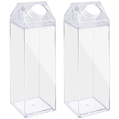 JJQHYC Caja de leche transparente de 500 ml, caja de leche con pegatinas decorativas, reutilizable (2 unidades)