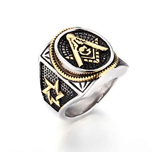JO WISDOM Herren Freimaurer Templer Ring aus 316L Titan Edelstahl,Ringe Illuminati Siegelring mit zwei Gewehren für Männer,Modell Master Mason,Gothic Schmuck (57 (18.1))