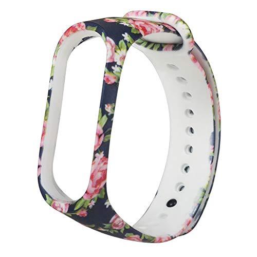 Sportband für Mi Band 5 Silikon Verschiedene Blumen Druck Armband Mi Band 5 Band Modische Sport Armband für Xiaomi mi 5, wasserdicht und waschbar