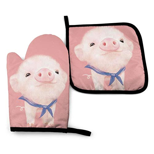 MSGUIDE Cute Pink Pig Oven Mitt and Pot Holder Heat Resistant Oven Glove for Kitchen Cooking Baking, BBQ, Grilling