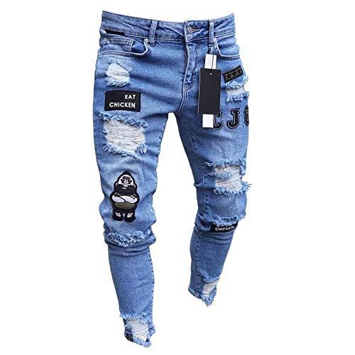Styles Männer Stretchy Ripped Skinny Biker Stickerei Print Jeans Destroyed Hole Taped Slim Fit Denim Scratched Hochwertige Jean S Blue