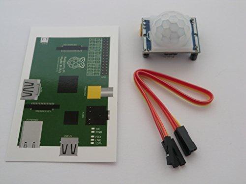 TR Computers HC-SR501PIR Módulo de alarma de detección de movimiento para Raspberry Pi o del Arduino. Viene con una tarjeta de cableado GPIO para pi gpio IDC de & 3cables