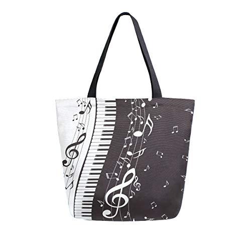 Bigjoke Canvas Tote Bag Piano Musik Note Große Frauen Casual Schultertasche Handtasche Wiederverwendbar Shopping Lebensmittel Tragbare Aufbewahrungstasche für Outdoor