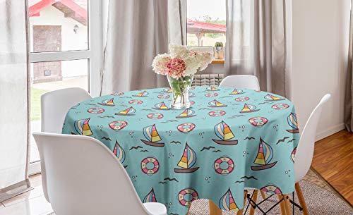 ABAKUHAUS Het zeilen Rond Tafelkleed, Seafoam Vogels Zeilboten, Decoratie voor Eetkamer Keuken, 150 cm, Pale Seafoam Multicolor